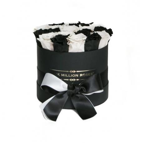 Black and White Roses in Black Box