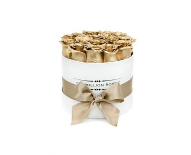 Gold Roses in White Box