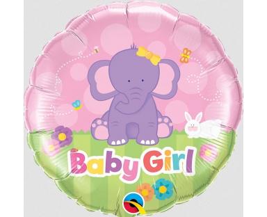 Baby Girl Elephant Foil Helium Balloon