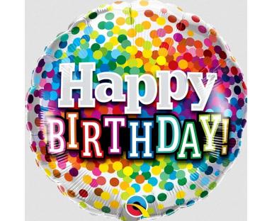 "Foil Balloon ""Birthday Rainbow Confetti"""
