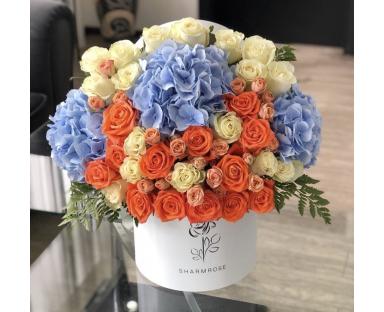 "Blue Hydrangea with 40 Mix Roses ""Summer Balance"" Luxury Flower Arrangement in a box"