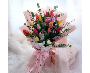 25 Assorted Tulips Bouquet