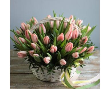 40 Pink Tulips arrangement in basket