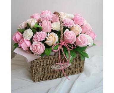 "Mix Roses With Mix Carnations ""Heartfelt"" arrangement in basket"