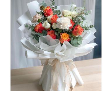 "Orange & White Roses With White Carnations Bouquet ""Orange&White"""