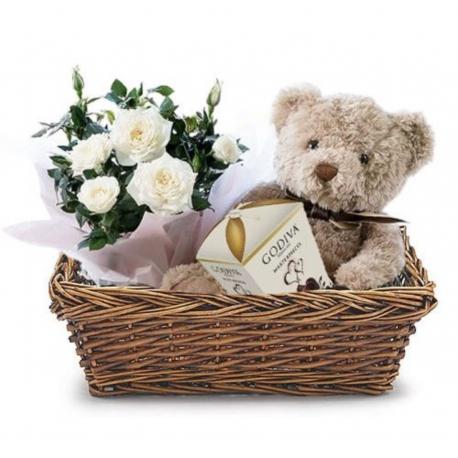 Roses&Teddy Bear&Chocolate in Basket
