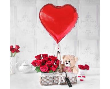 Roses&Bear in Basket