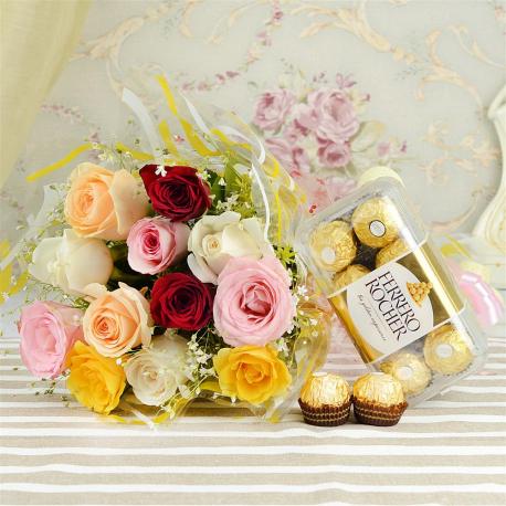 Multicolor Roses With Ferrero Rocher