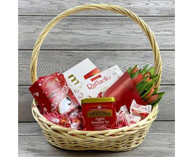 Choco Basket With Tulips