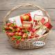 Tulips, Choco, Tea, Coffee set in a Basket