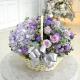 "Hydrangea, Purple Roses,Statice Bouquet""Lucy"" in a Basket"