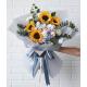 "Blue Hydrangea, Sunflowers,Pink&White Roses Bouquete""Luna"""