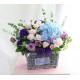 "Blue, White Hydrangea, Pink and Purple Roses, Purple Eustoma Bouqute""Avery"""
