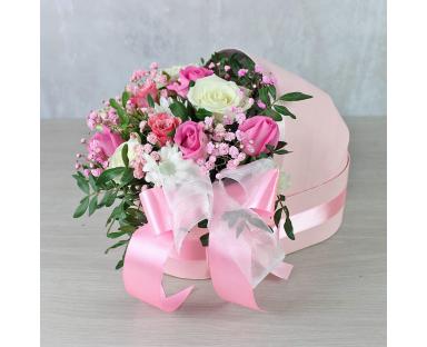 "Pink&White Roses,Chrysanthemum Bouquet ""Ellie"""