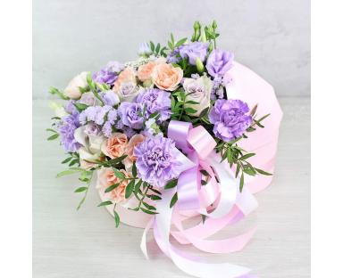 "Purple Roses,Carnations,Eustoma Bouquet ""Cora"""