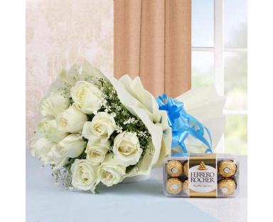 White Roses with Chocolate Ferrero Rocher