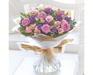 """Purple Roses, Alstroemeria, Eustoma Bouquete""""Blanche"""""""