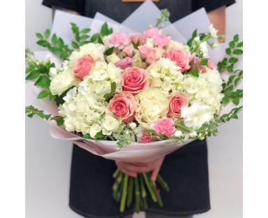 White Hydrangea, Pink Roses Bouquet ''Bertie''