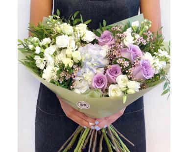 """Hydrangea, Purple&white roses, Eustoma Bouquet""""Bretta"""""""