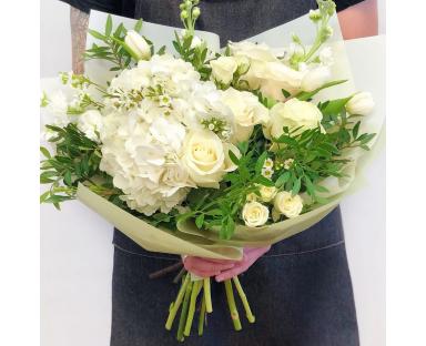 "White Hydrangea, White Roses, White Tulips Bouquet""Clarissa"""""