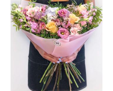 Blue Hydrangea,Purple&Orange Roses,Pink Eustoma Bouquet''Phyllis''