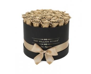 Gold Roses in Black Box