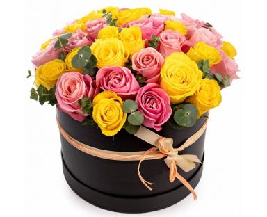 Pink&Yellow Roses Box''Joanna''
