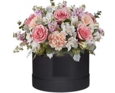 Pink Roses, Pink Carnations, White Alstroemeria in a Box''Gabriela''