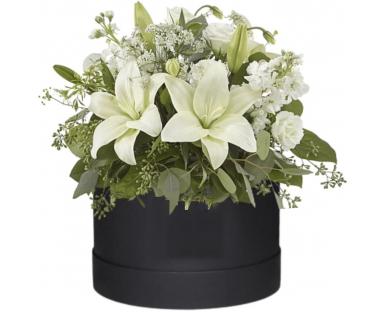 White Lilies, White Eustoma in a  Box''Justina''