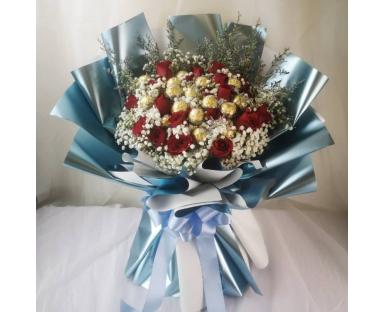 Red Roses, Ferrero Rocher, Gypsophila Bouquet''Lotty''