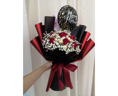 Red Roses&Ferrero Rocher with Gypsophila Bouquet''Sib''