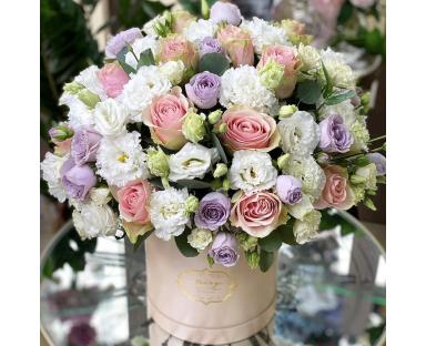 Pink&Purple Roses, White Eustoma Bouquet''Tisha''