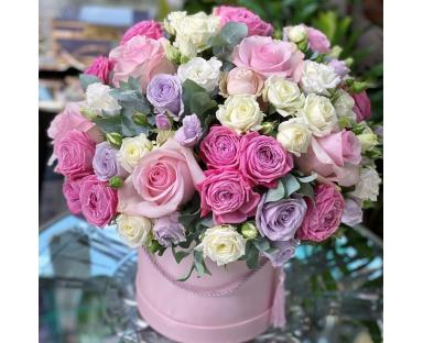 Pink&Purple Roses, White&Pink Spray Roses, Eucalyptus Bouquet''Eveline''
