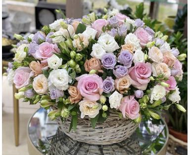 Pink, White, Purple Roses, White Eustoma Bouquet''Celeste''