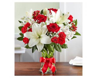 Red Roses. White Lilies, Alstroemeria Bouquet''Stephanie''